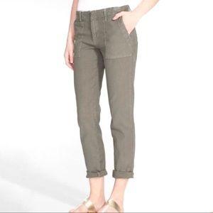 Joie army green slim leg painter pant patch pocket